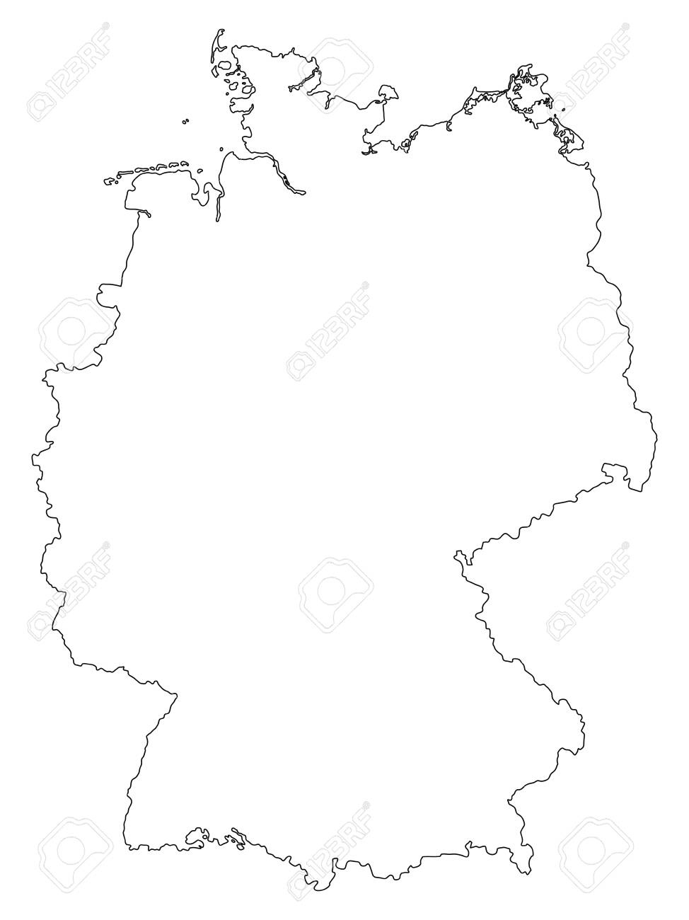 Vector Germany Outline Map Isolated On White Background. inside Outline Map Of Germany And Surrounding Countries