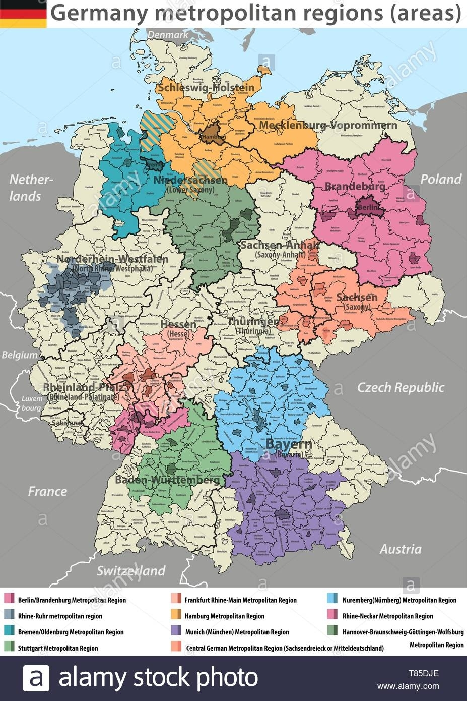 Vector High Detailed Map Of Germany Metropolitan Regions (Areas within Germany Regions Map