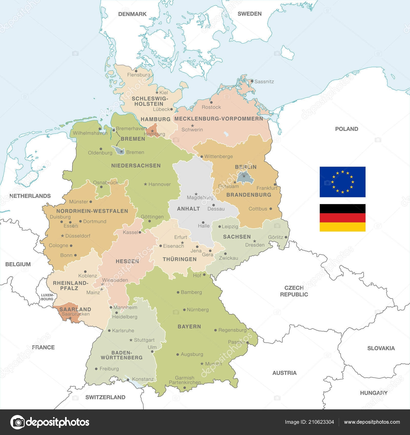 Vector Map Germany Administrative Borders City Region Names regarding Germany Map With Neighbouring Countries