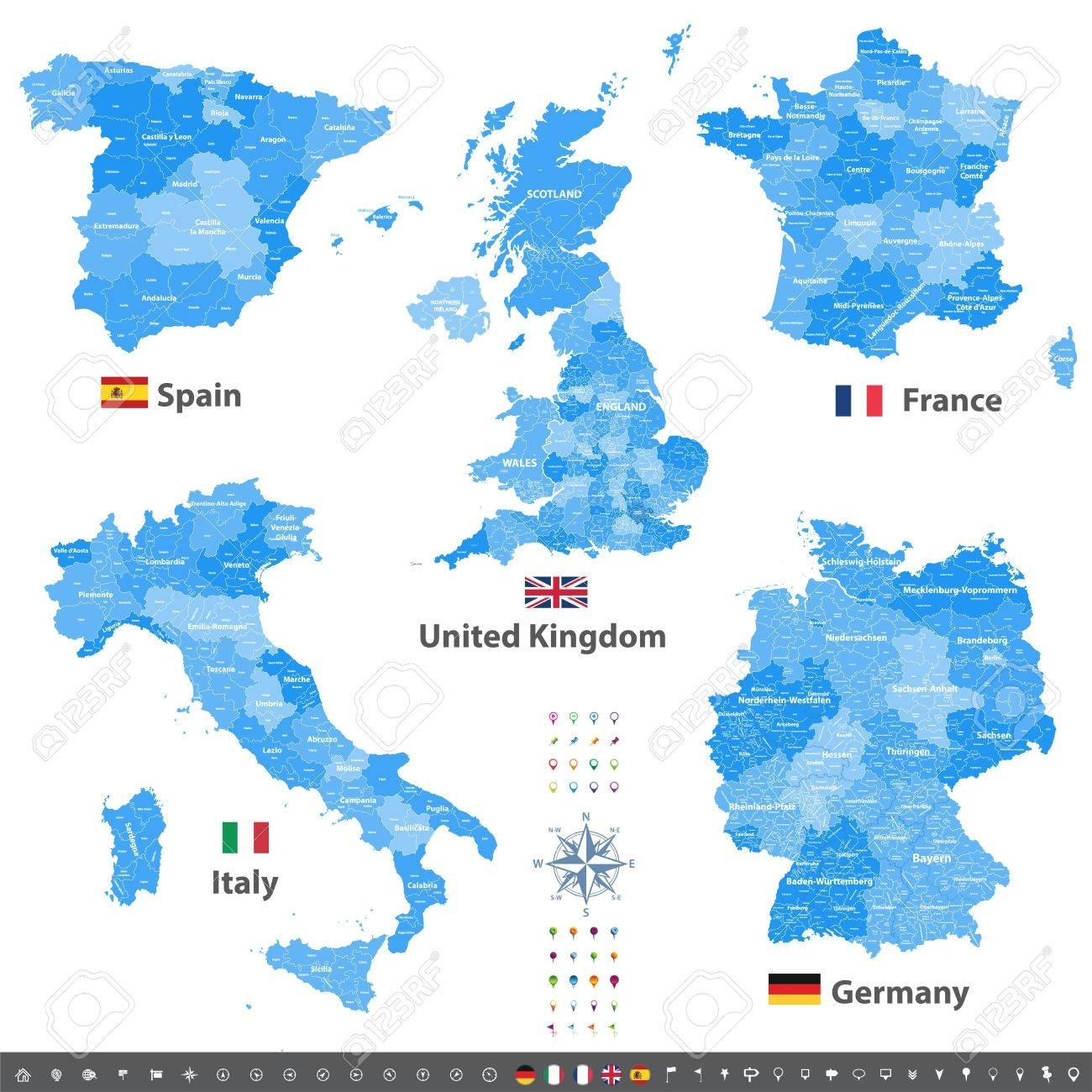 Vector Maps Of United Kingdom, Italy, Germany, France And Spain.. pertaining to Map Of Spain France And Germany