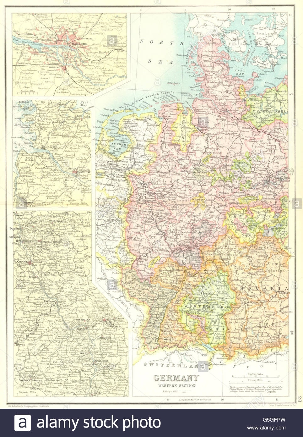 Western Germany: Inset Hamburg; Rhine Valley. Cassells, 1909 Antique intended for Rhine Valley Germany Map