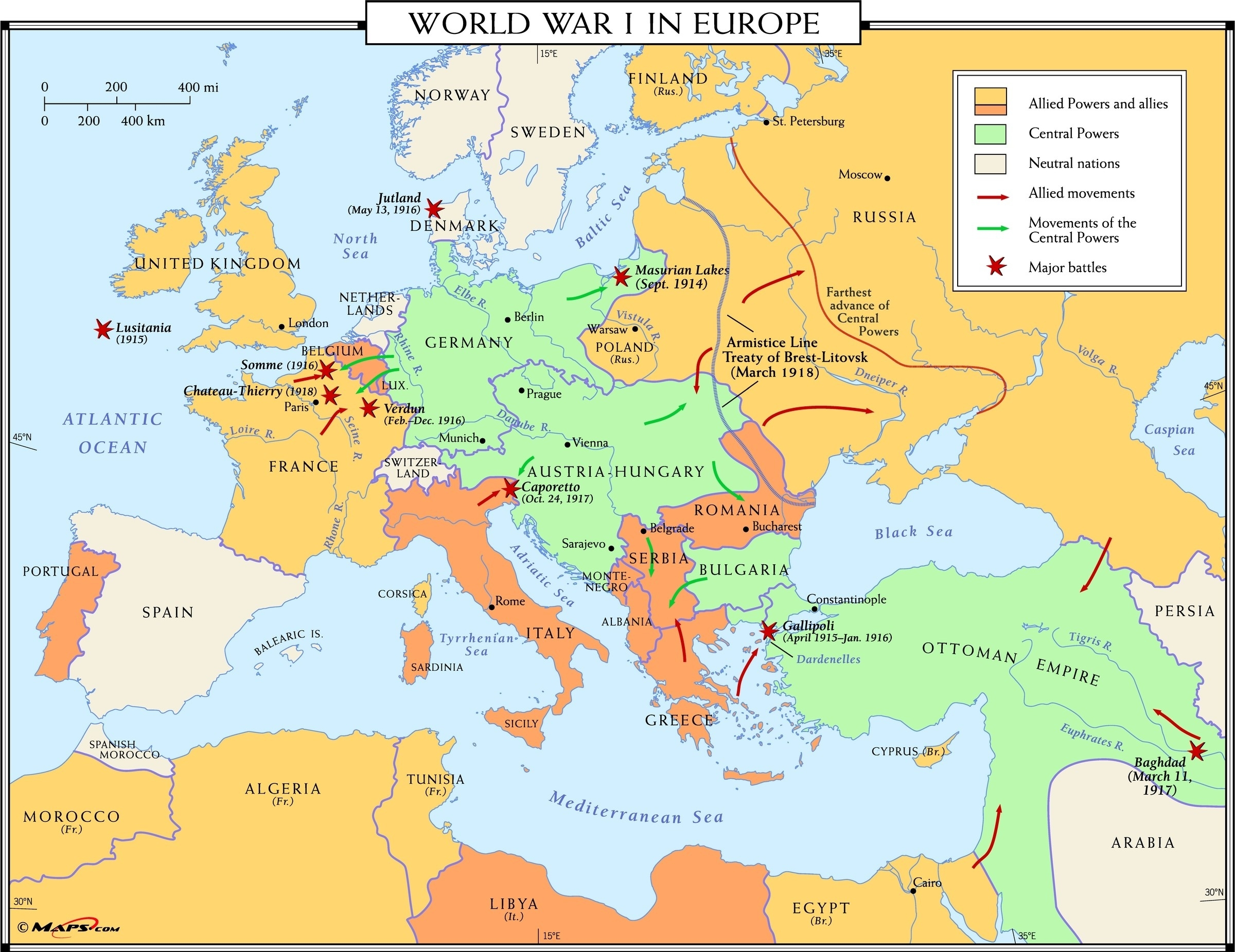 World War I In Europe Map - Maps intended for Germany Map In World War 1