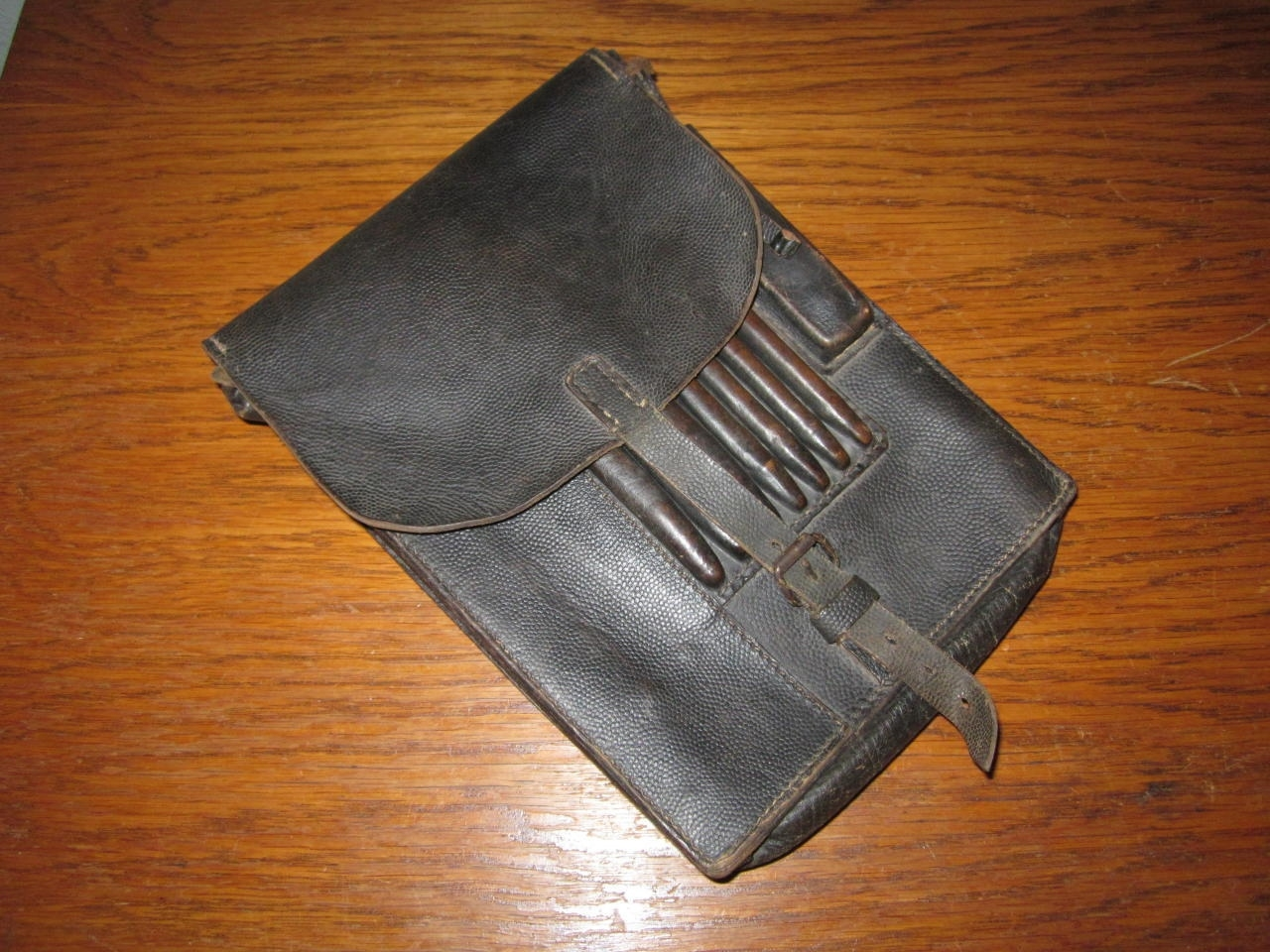 Ww2 German / Luftwaffe M35 Leather Dispatch Map Case #2 - Named - Very Nice! in Ww2 German Map Case