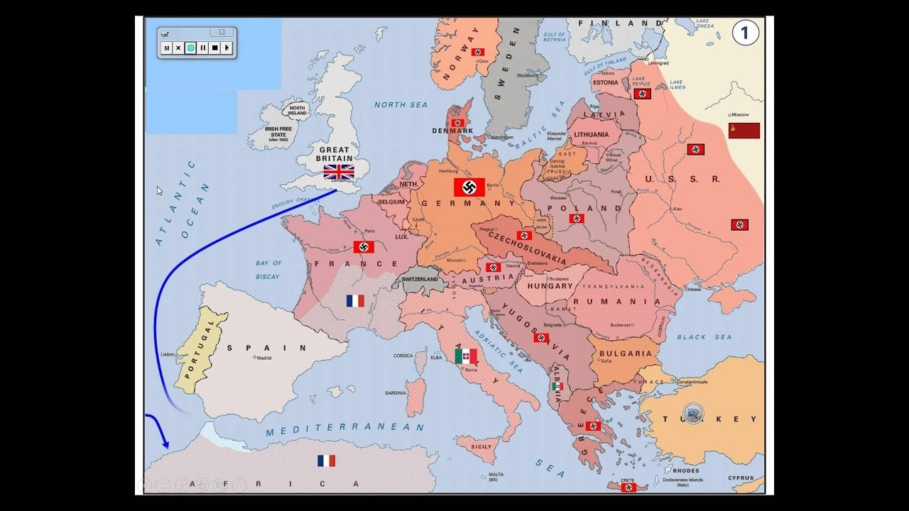 Wwii - Map Of Activity In Europe throughout Germany Map Of Ww2