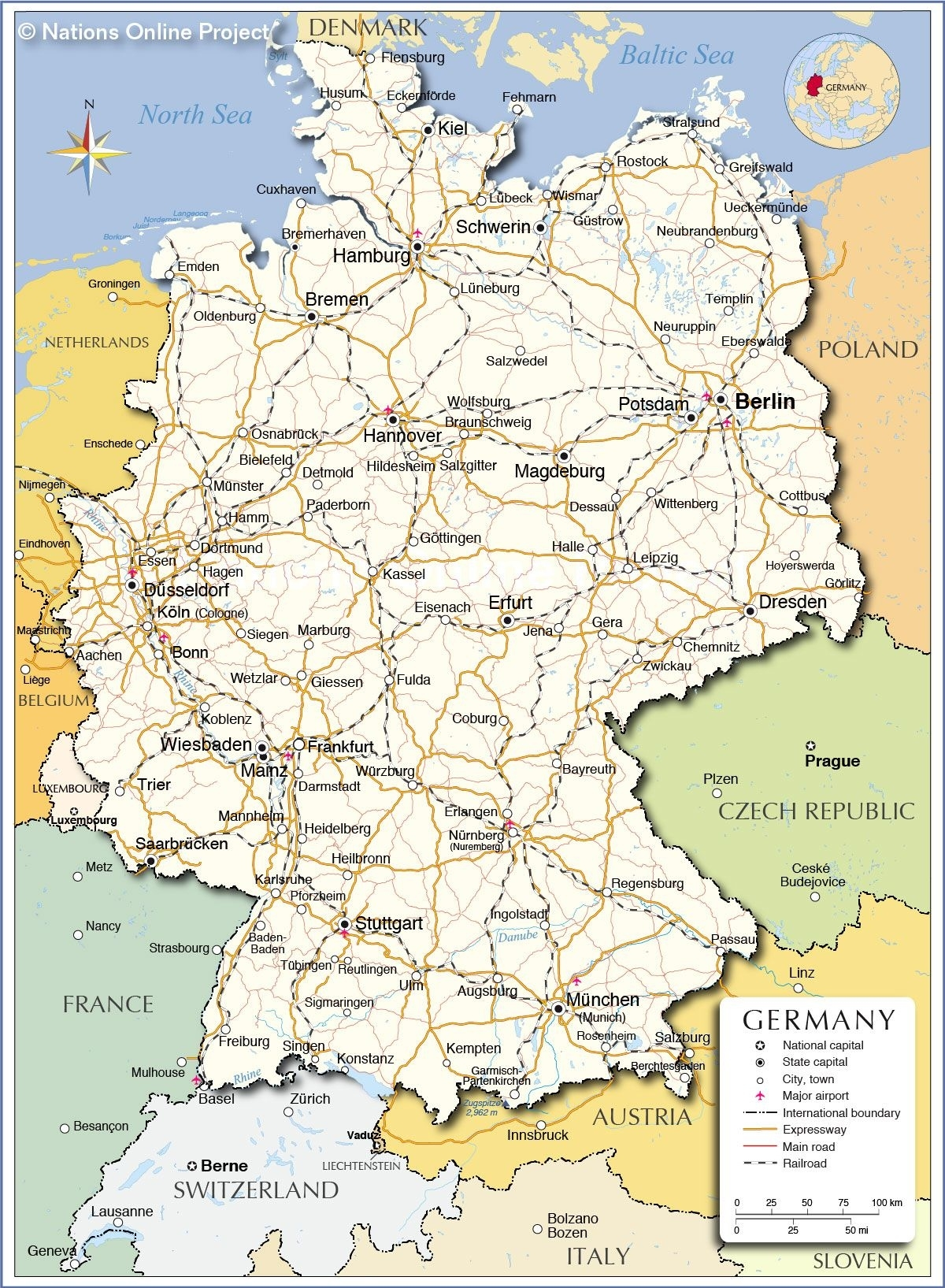 Germany - Political Map - Nations Online Project (With for Map Of Stuttgart Germany And Surrounding Area