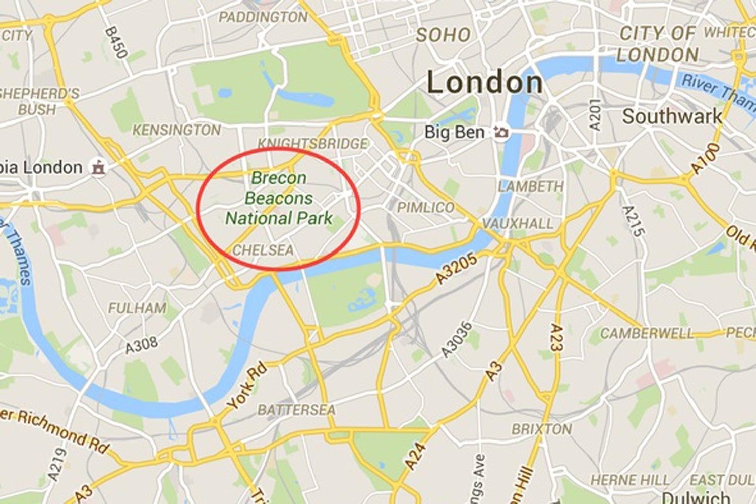 Google Maps Glitch Puts Brecon Beacons In Central London with Google Maps Stuttgart West
