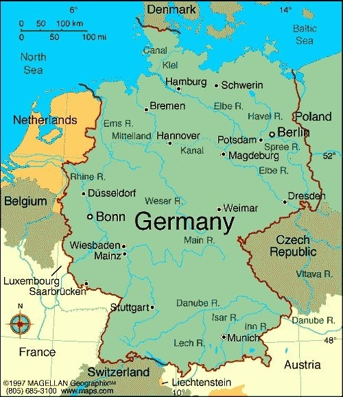 Map Of Germany With Cities   Map Of Germany Showing inside Stuttgart Hamburg Google Maps