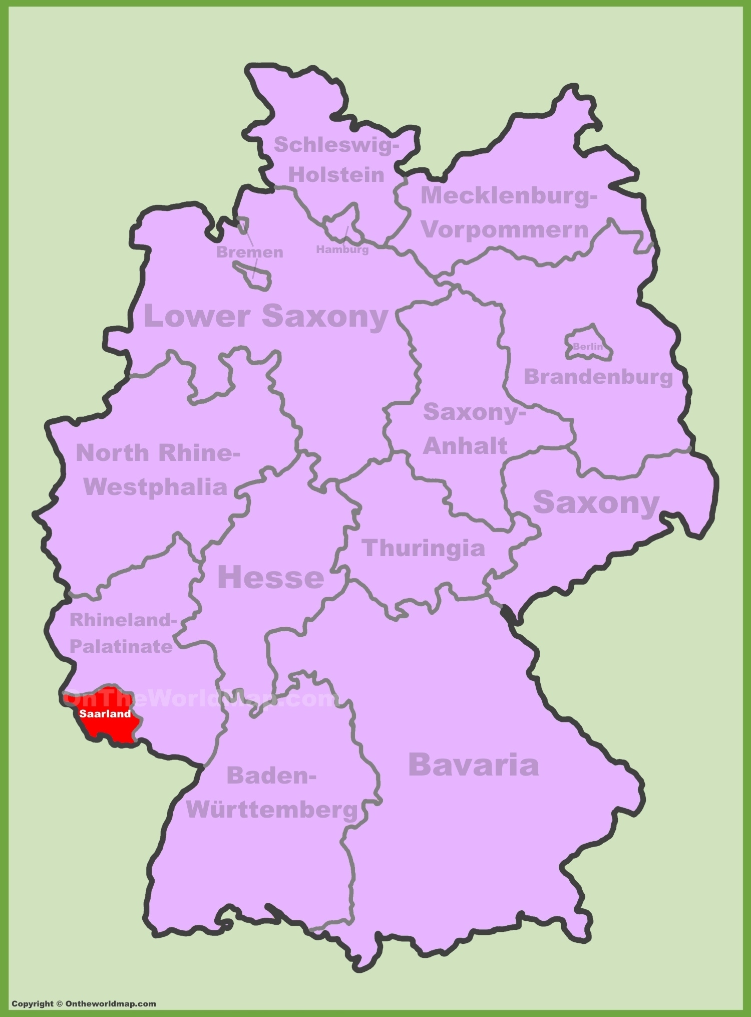 Saarland Location On The Germany Map in Stuttgart Germany On A Map