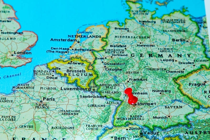 Stuttgart, Germany Pinned On A Map Of Europe Stock Photo for Map Of Germany With Stuttgart
