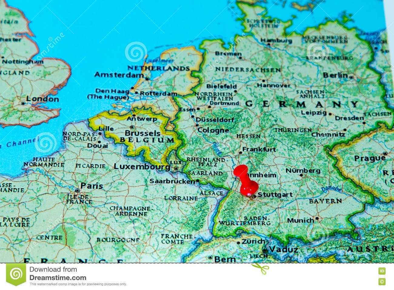 Stuttgart, Germany Pinned On A Map Of Europe Stock Photo intended for Stuttgart Germany On A Map