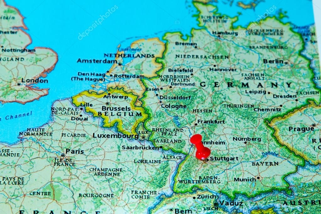 Stuttgart, Germany Pinned On A Map Of Europe — Stock Photo throughout Show Stuttgart On Map Of Germany