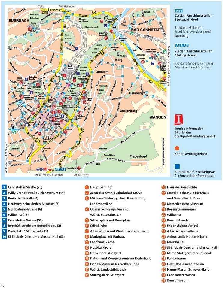 Stuttgart Sightseeing Map throughout Map Of Stuttgart Germany And Surrounding Area