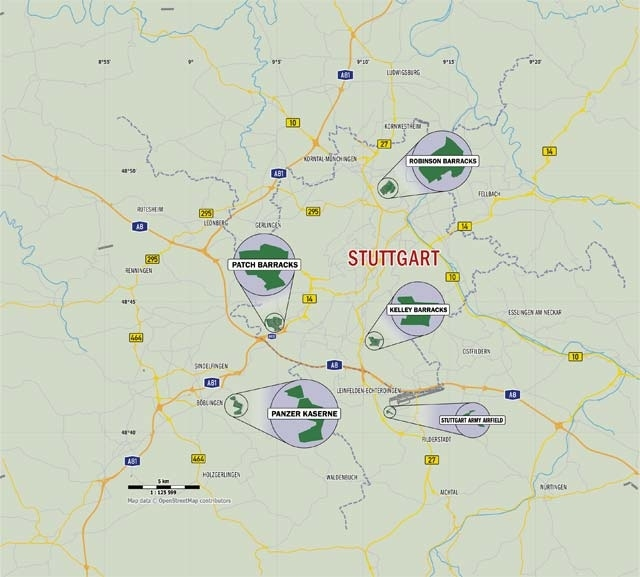 The Stuttgart Military Community Installations intended for Map Of Germany With Stuttgart