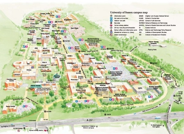 University Of Sussex Campus Map - Falmer England • Mappery for Stuttgart University Campus Map
