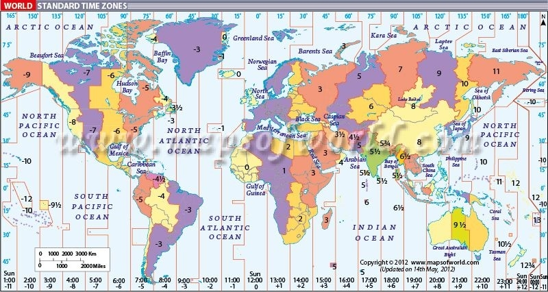 World Map With Time Zones   Time Zone Map, World Time with Stuttgart Zone Map English
